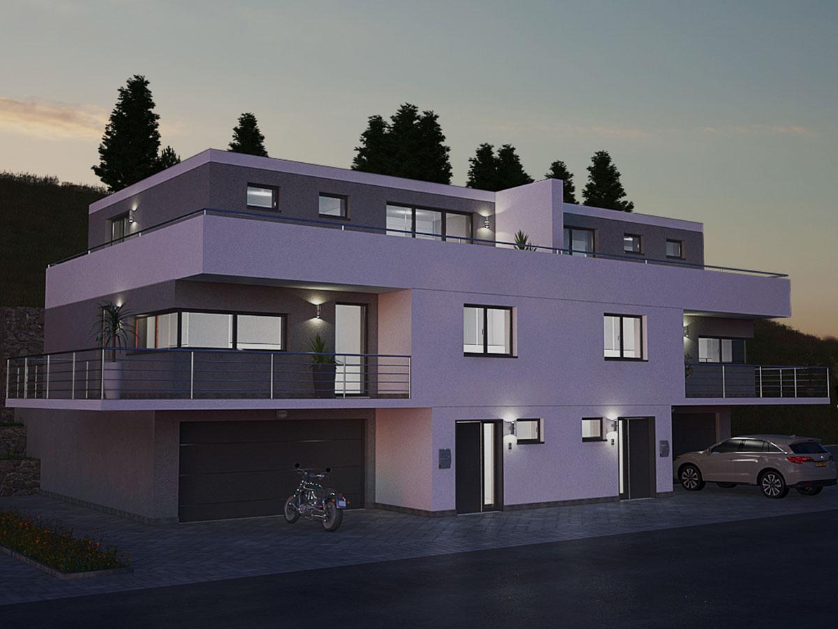 3D-renderi-u-nocnoj-sceni 3d kuća stambeni objekti