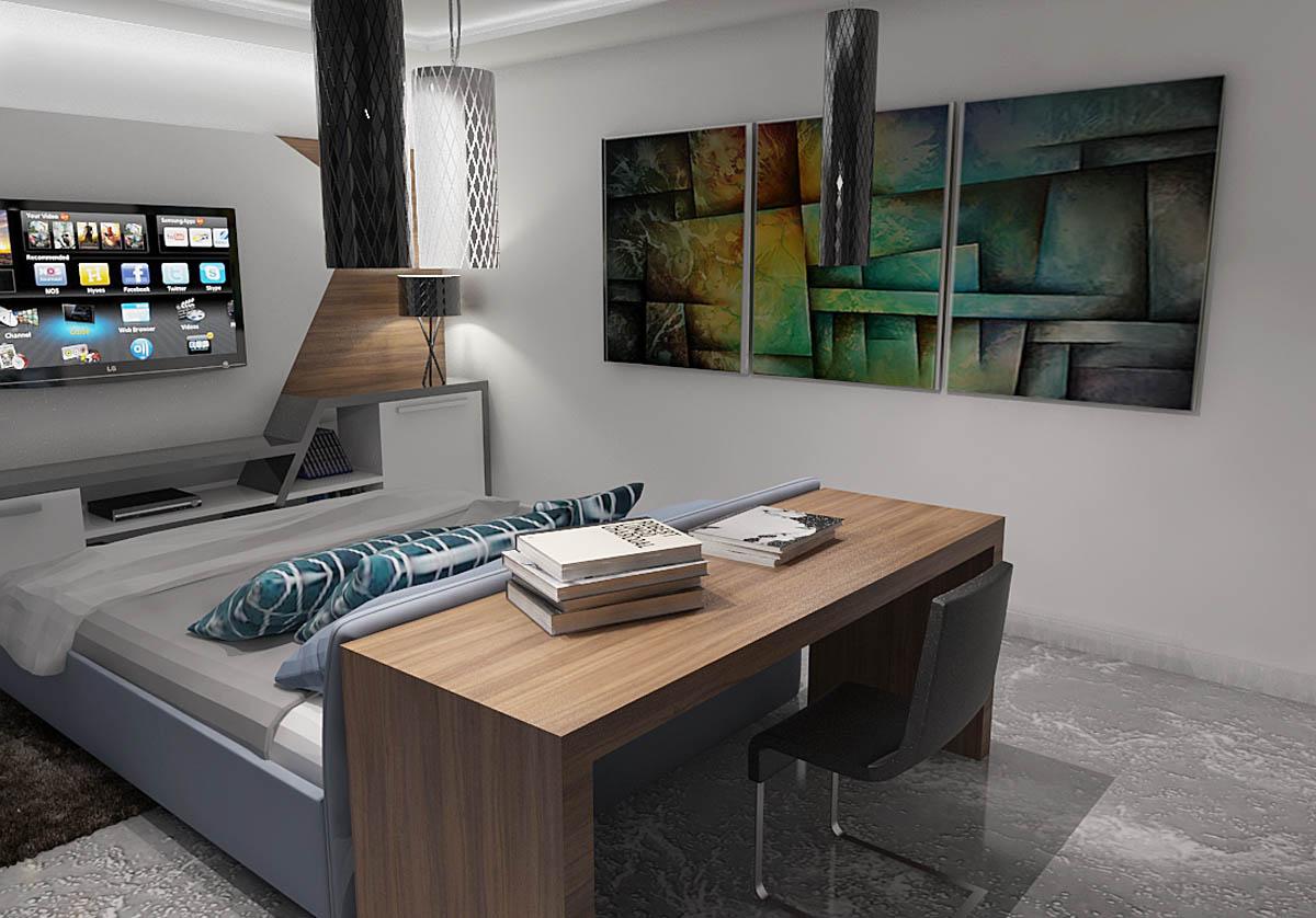 Moderni enterijer spavaća soba Epoksi podovi u stambenim objektima