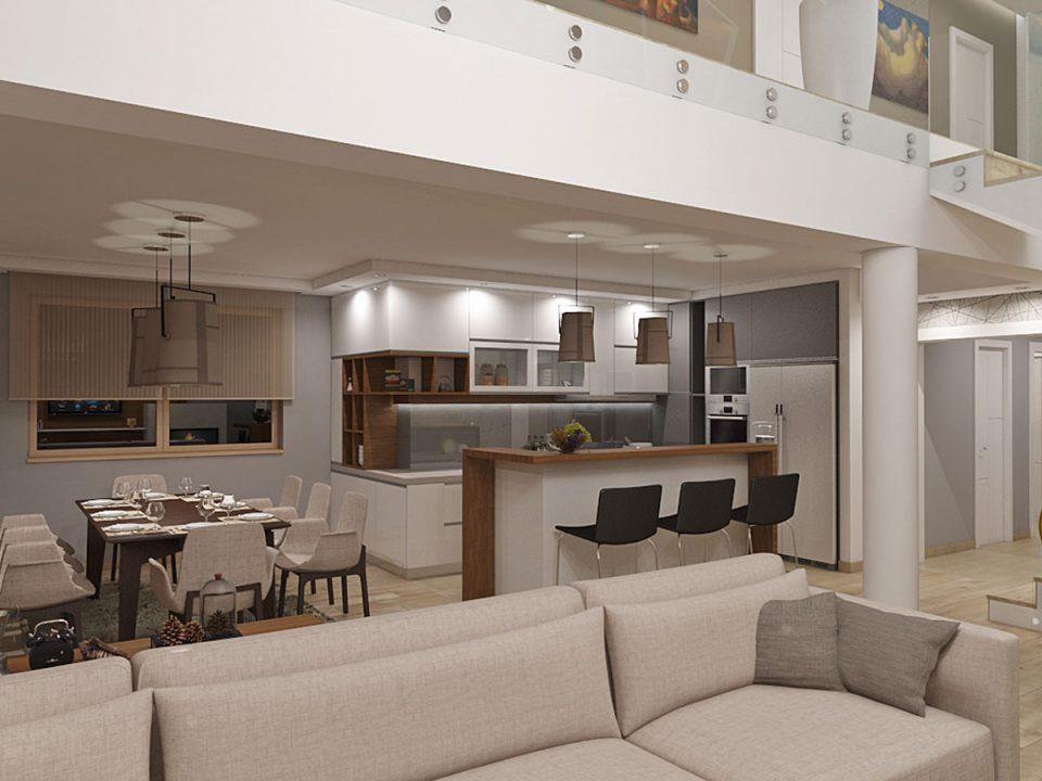 Enterijer stambenog prostora na dva nivoa