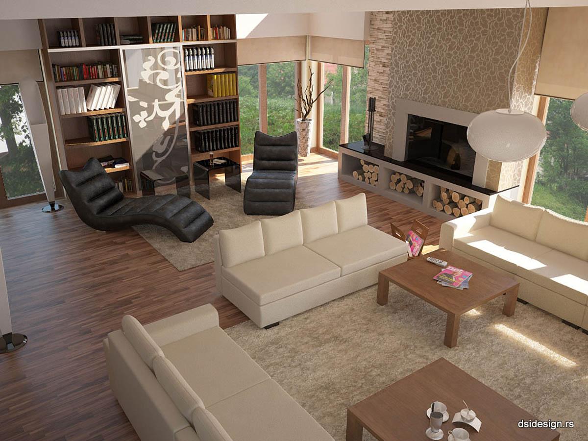 3D vizuelizacija stanbenog objekta enterijer dvospratne kuće