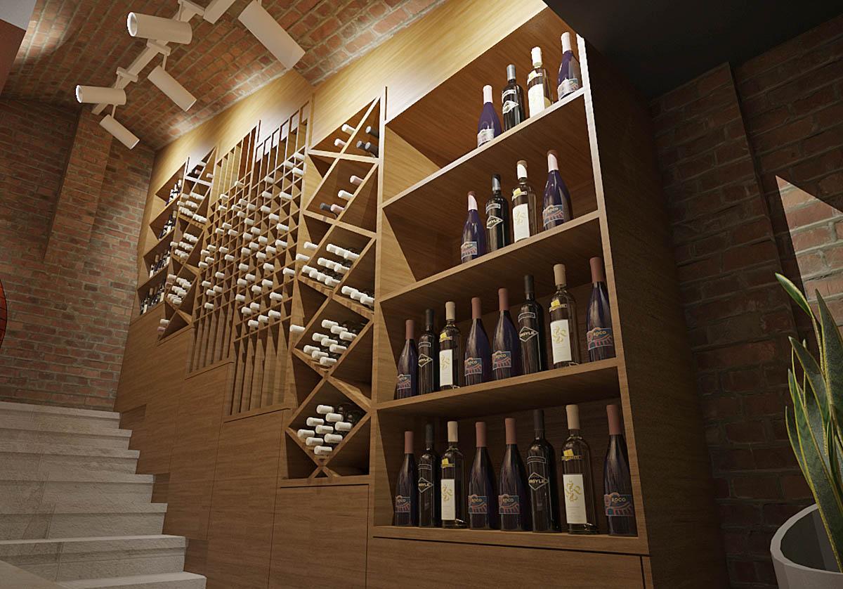 3d enterijer render vinski podrum osveljenje